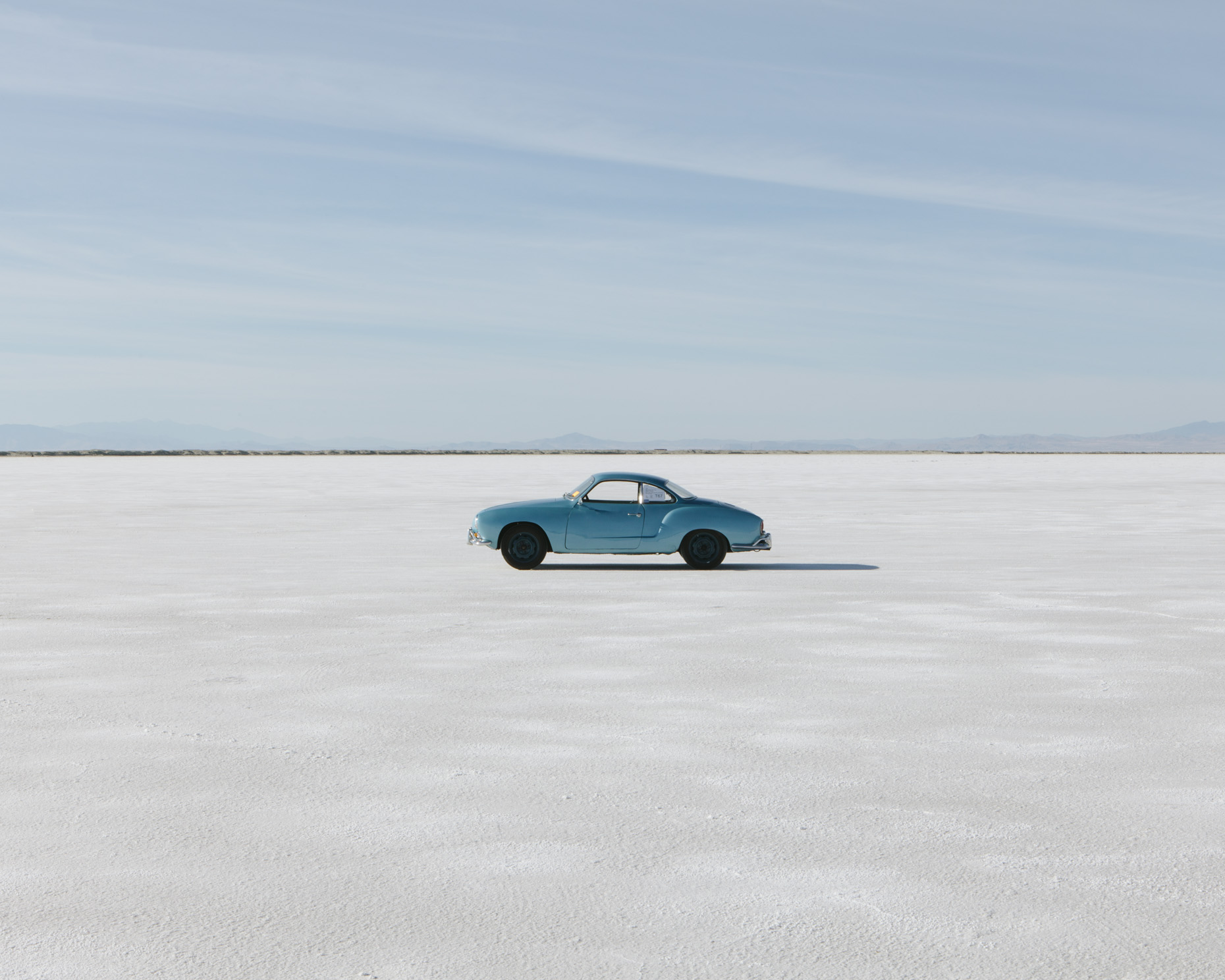Vintage Karmann Ghia car on Bonneville Salt Flats, World of Speed, Utah - Paul Edmondson