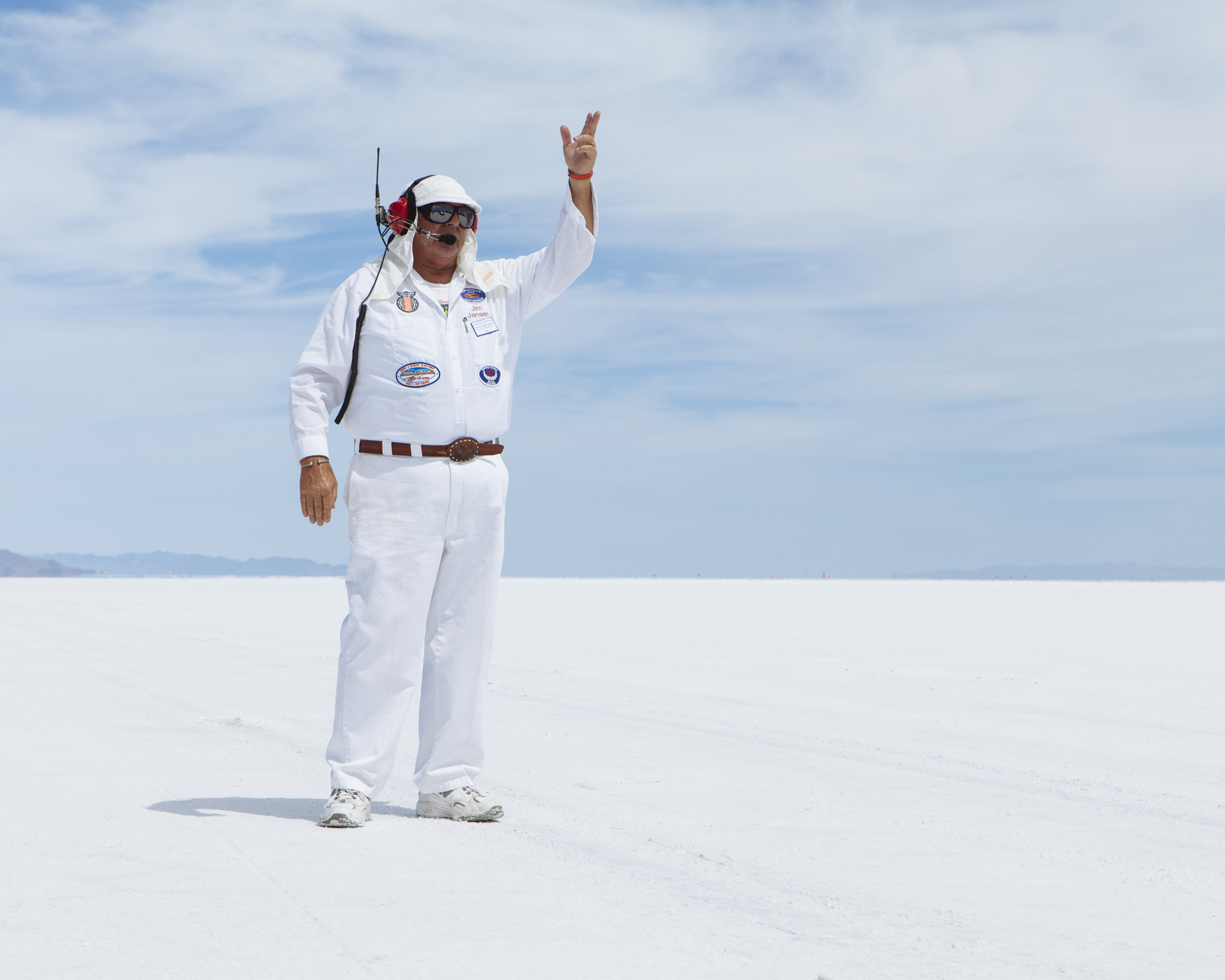 Jim Jensen, Speed Week timing official on the Bonneville Salt Flats, Utah - Paul Edmondson