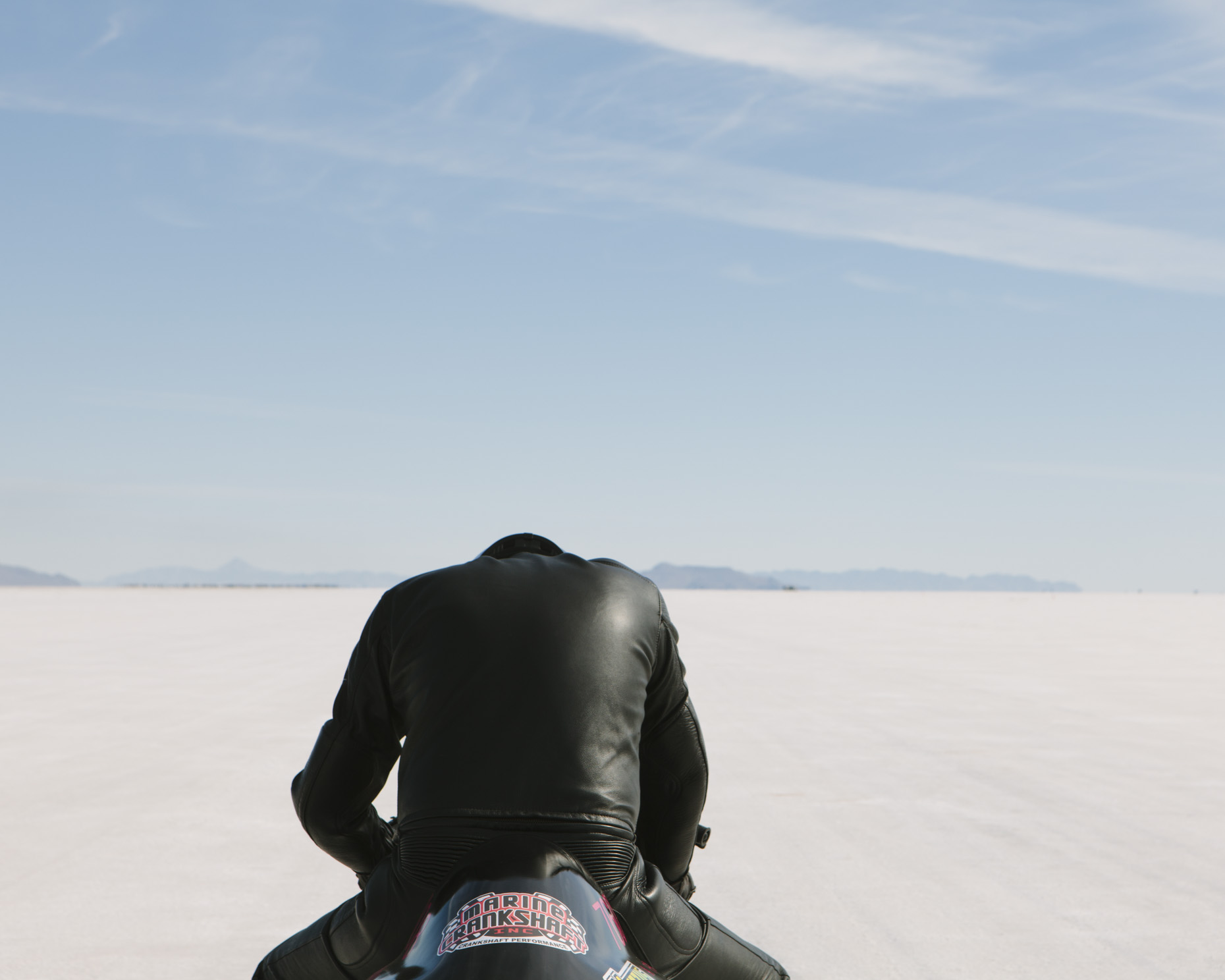 Motorcycle racer at start line, World of Speed, Bonneville Salt Flats, Utah - Paul Edmondson